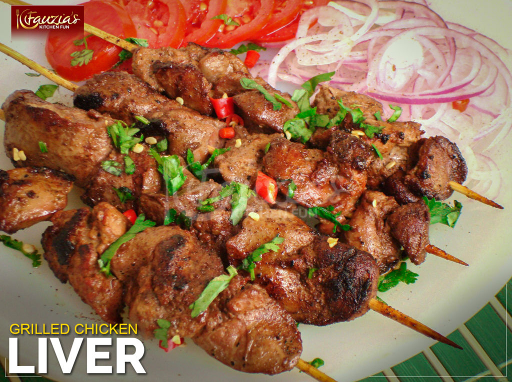 Grilled Chicken Liver Fauzia S Kitchen Fun