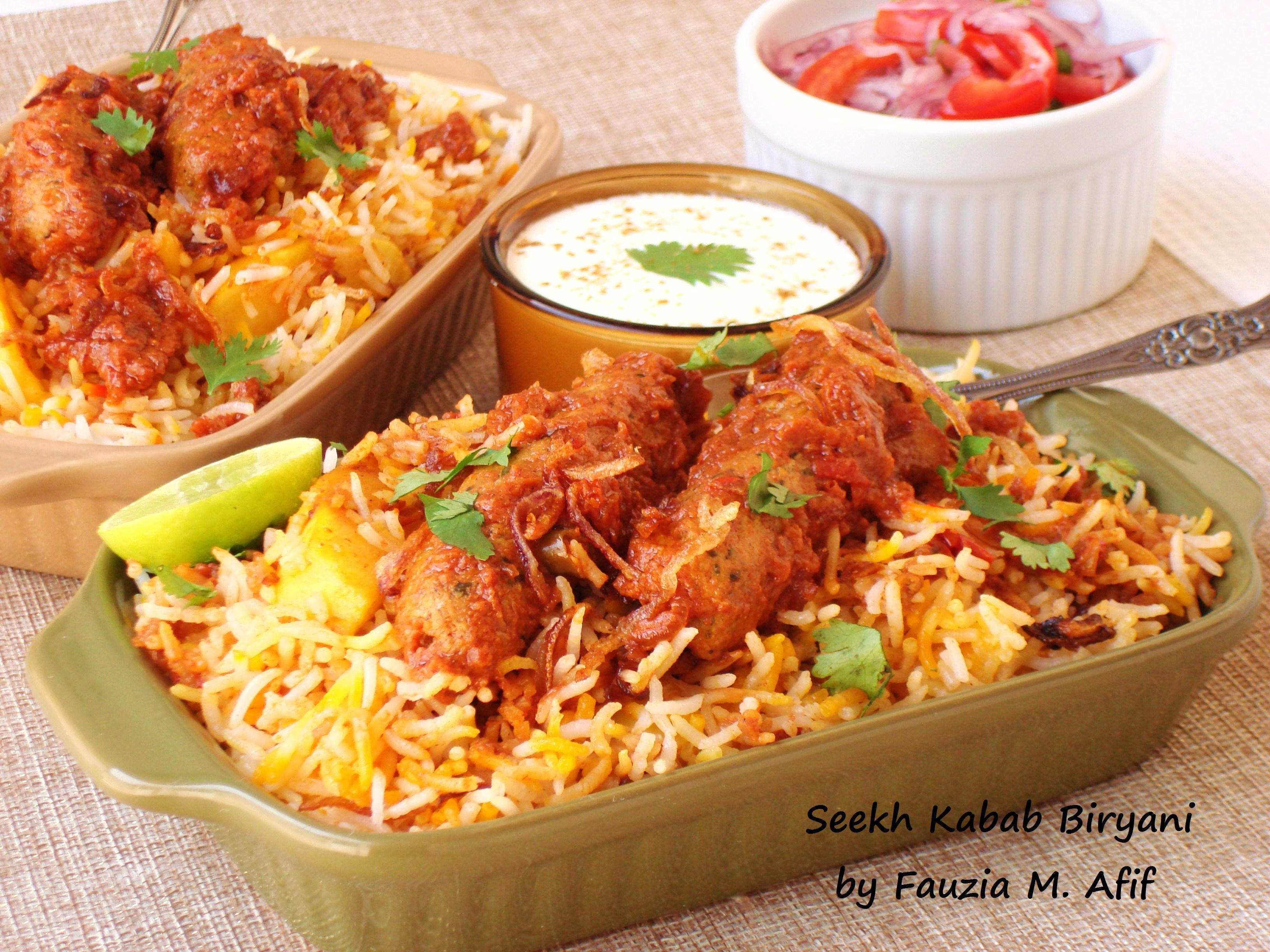 Seekh Kabab Biryani Fauzias Kitchen Fun