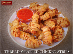 Thread-Wrapped Chicken Strips